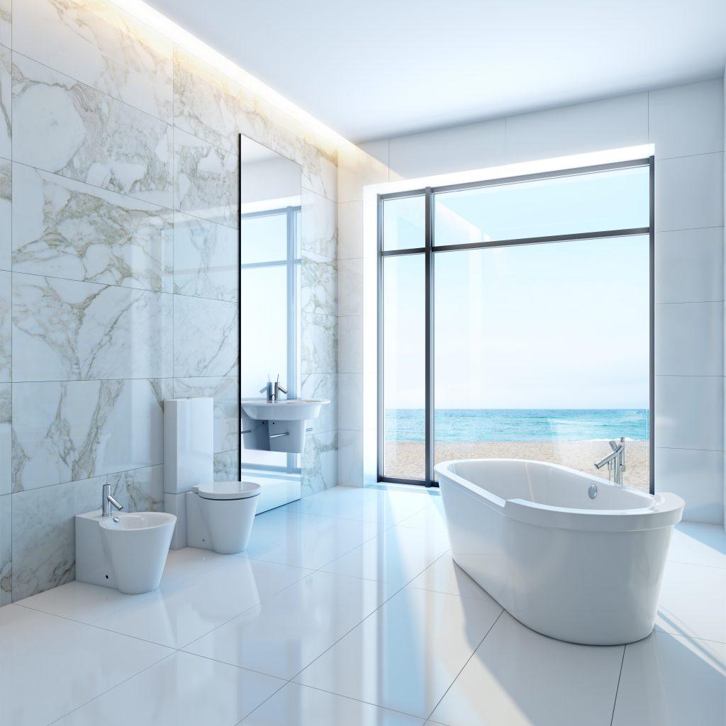 שיש לאמבטיה עם נוף